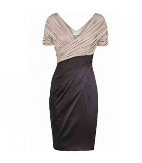 Satin and jersey multipleated dress