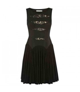 Lace and Jersey pleated skirt special cut dress