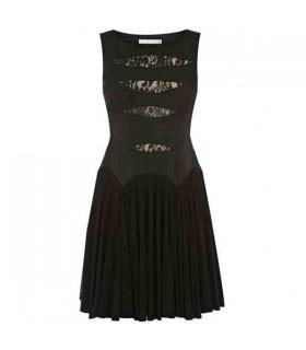Spitze und Jersey plissierten Rock besondere Schnitt Kleid