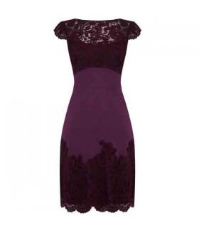 Elegante abito di pizzo viola impreziosito