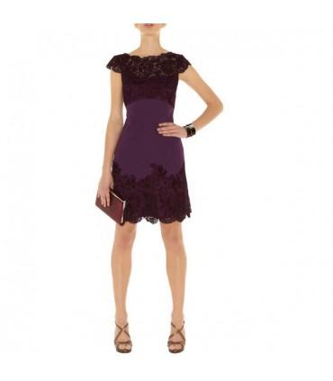 117ab2ab3d4 Elegantes Kleid lila Spitze verziert Größe 36