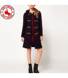 Women chic trench coat with horn buckles