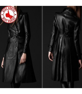Leather style fashion overcoat