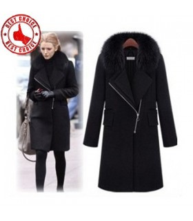 Turn-down collar zipper wool coat