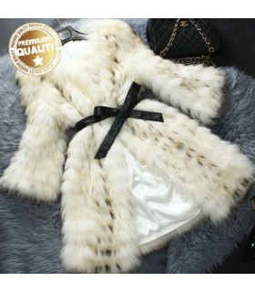 Real raccoon fur lady outerwear coat