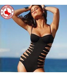 Black sexy one piece swimsuit monokini