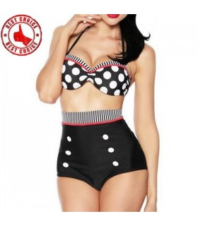 Retro pin up swimsuit high waist