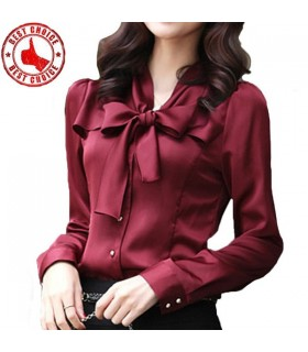 Sweet ruffles stand collar elegant bordeaux shirt