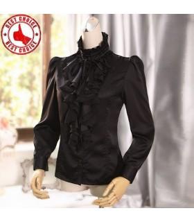 Vintage stand collar fuffles satin shirt