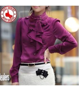 Dark pink elegant ruffle shirt