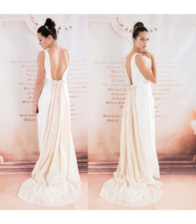 Ivory silk soft cotton lace train sexy back wedding dress