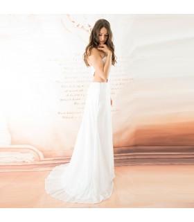 Super sexy paillettes ornée dedentelle robe de mariée
