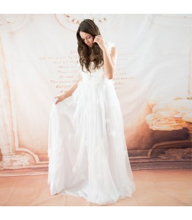 Angel soft fluffy silk wedding dress
