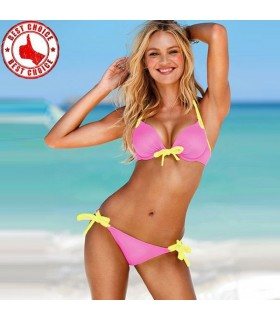 Hot pink with yellow straps bikini swimwear