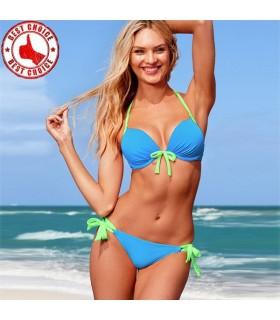 Bleu chaud avec jaune bretelles maillots de bain bikini