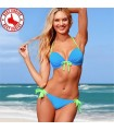 Hot blue with yellow straps bikini swimwear