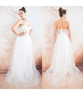 Robe de mariée corsage sexy tulle coton dentelle