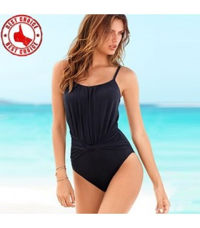 Simple black full swimsuit monokini