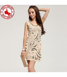 Sequin embellished flowers cream embellished dress