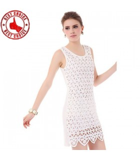 Bianco impreziosito abito grafico