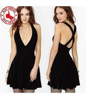 Traverser le creux noir mini robe