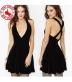 Cross hollow black mini dress