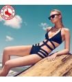 Sexy dark blue cross straps monokini one piece swimsuit