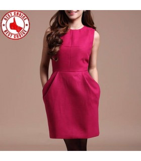 Red vintage woolen dress