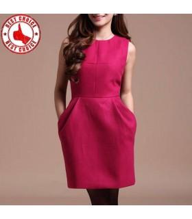 Rote Vintage Woll Kleid