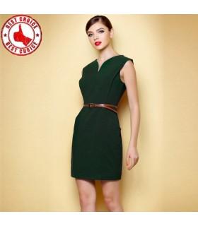 Elegante grüne Metall Reißverschluss Kleid