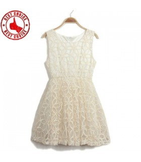 Weiß Organza Blumenstickerei Kleid