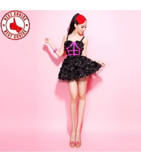 3D Rose fun flounced dress