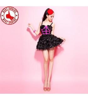 3D Rose Spaß Rüschen Kleid