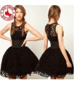 Black lace chic hollow out dress