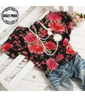 Flower print romantic top