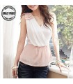 Bowknot V-neck splicing chiffon top