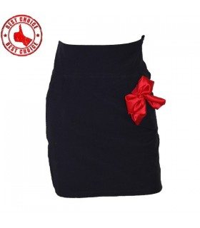 Blue marin slim mini red bow skirt