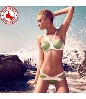 Modern cuts pistachio green swimsuit