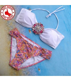 Crystal flower detail swimwear