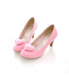 Chaussures talon rose moyen avant coeur