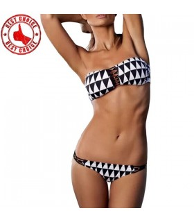 Push up bikini black and white swimwear