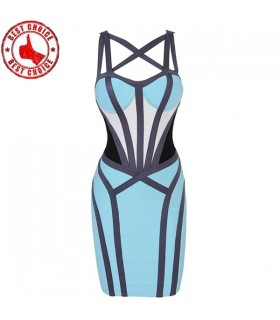 Criss-Cross bandage color block bandage dress