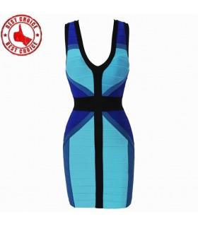 Style couleur robe bandage sexy bleu