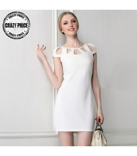 Weiß schicke Ausschnitte kleid