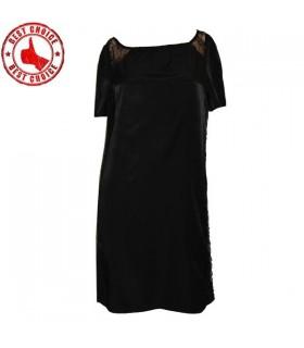 Schwarzer Spitze französischer casual Kleid