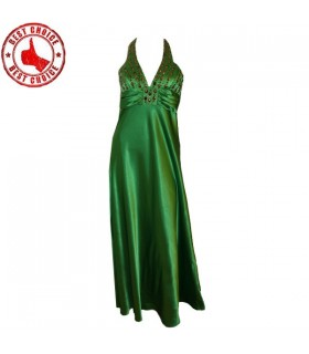 Green smarald embellished beads dress