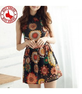 Retro pattern casual dress