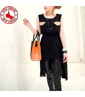 Noir poches embellis en mousseline de soie robe