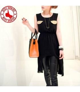 Schwarzem Chiffon verziert Taschen Kleidung