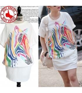 Loose design color zebra printing top